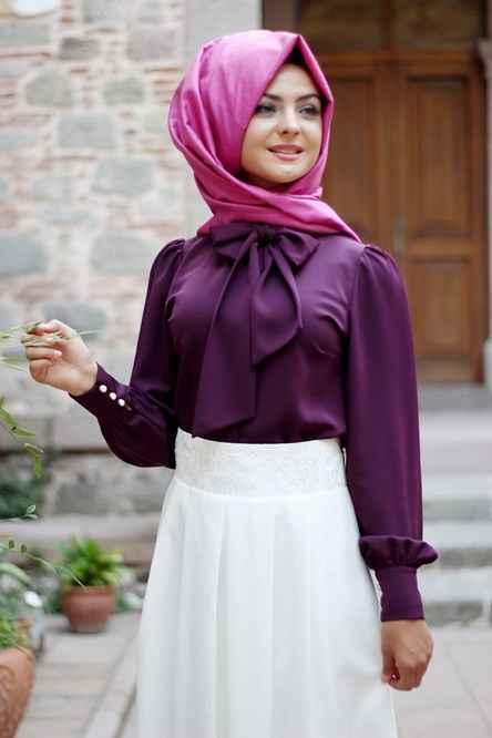 Pınar Şems Tesettür Fiyonklu Gömlek Modelleri