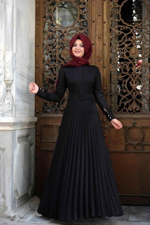 Pınar Şems Tesettür Piliseli Elbise Modelleri