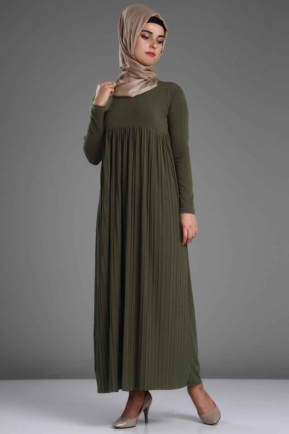Patırtı Tesettür Piliseli Elbise Modelleri