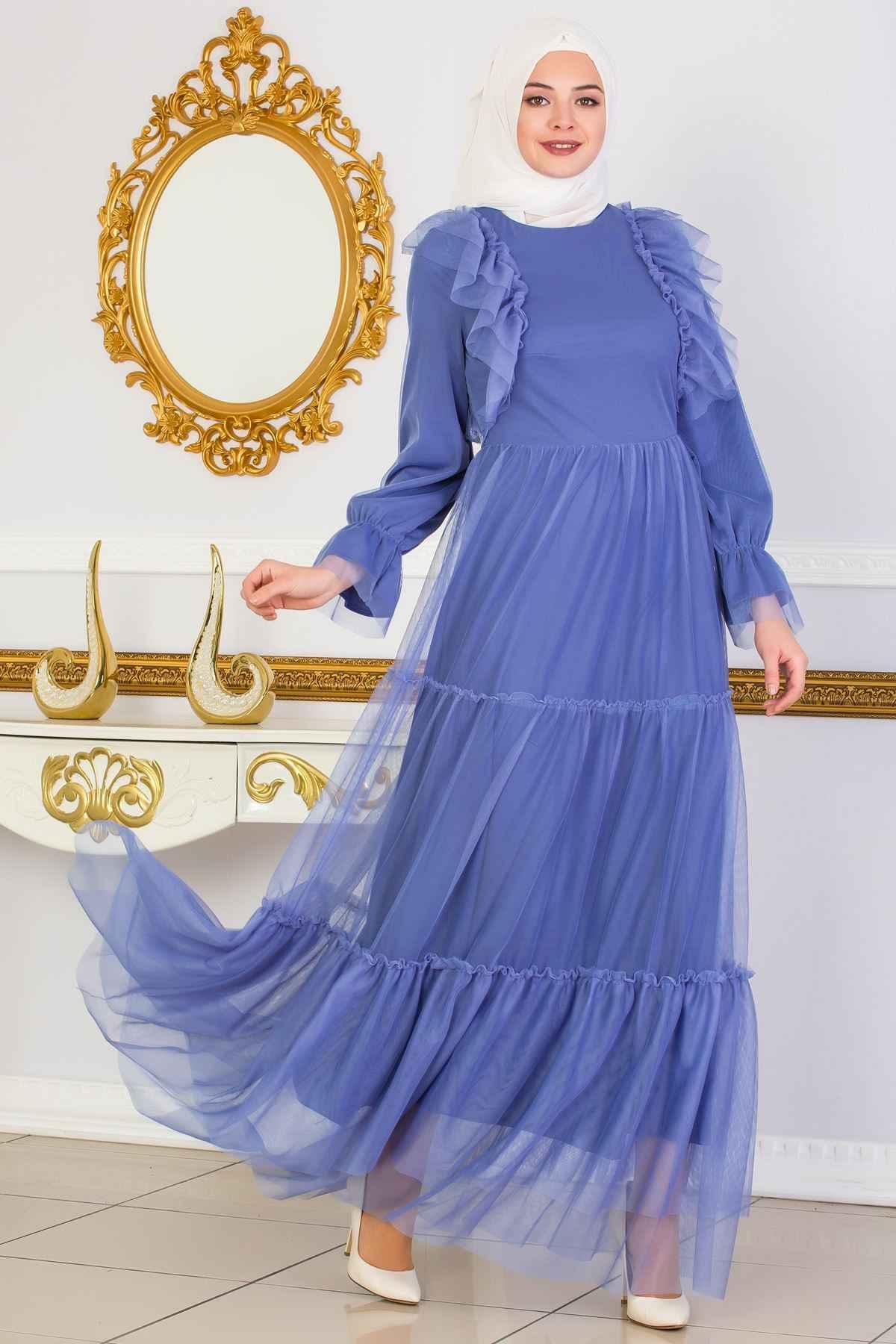 Sedanur Güpürlü Tesettür Tül Elbise Modelleri