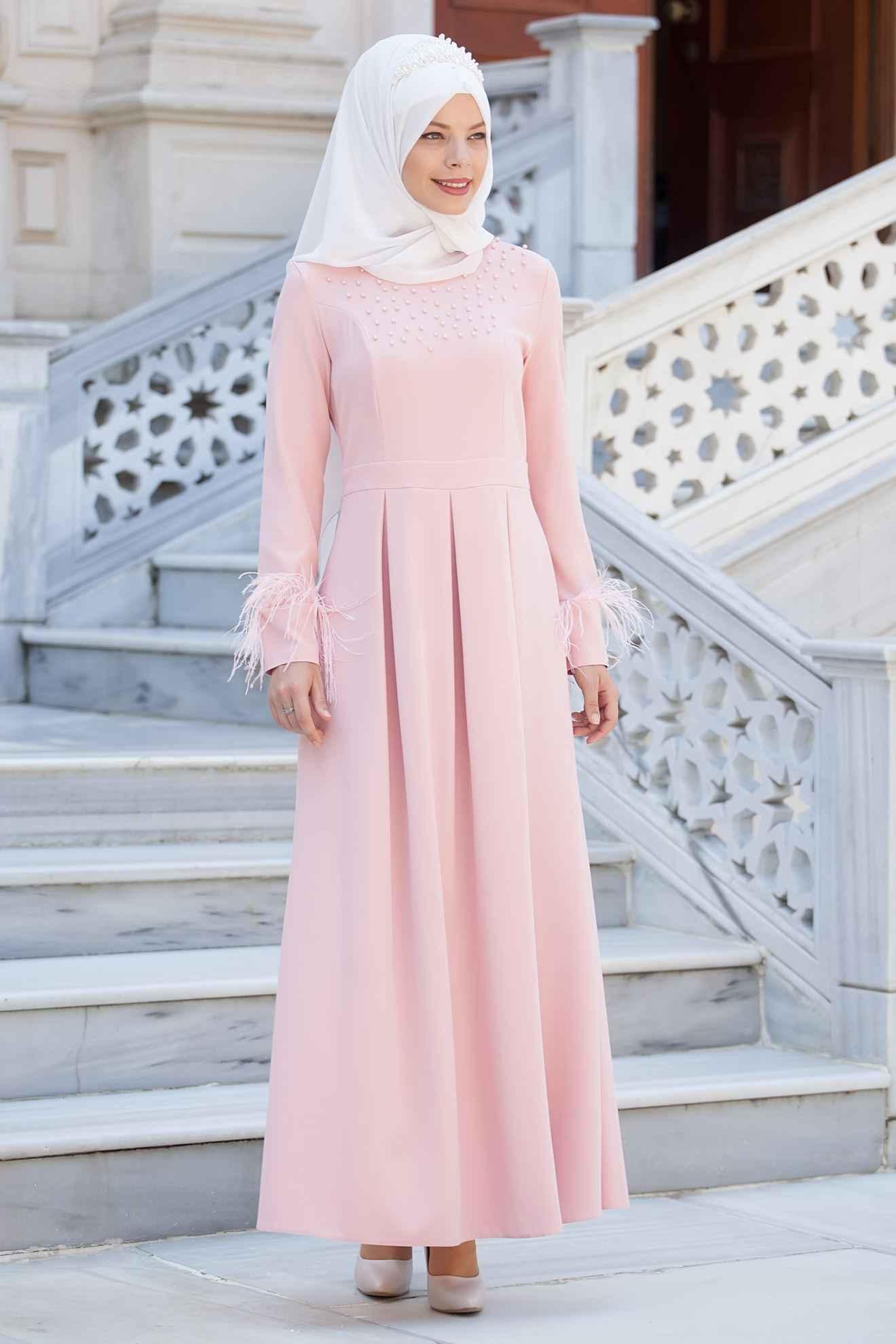 Sedanur Tesettür Kolları Tül Elbise Modelleri