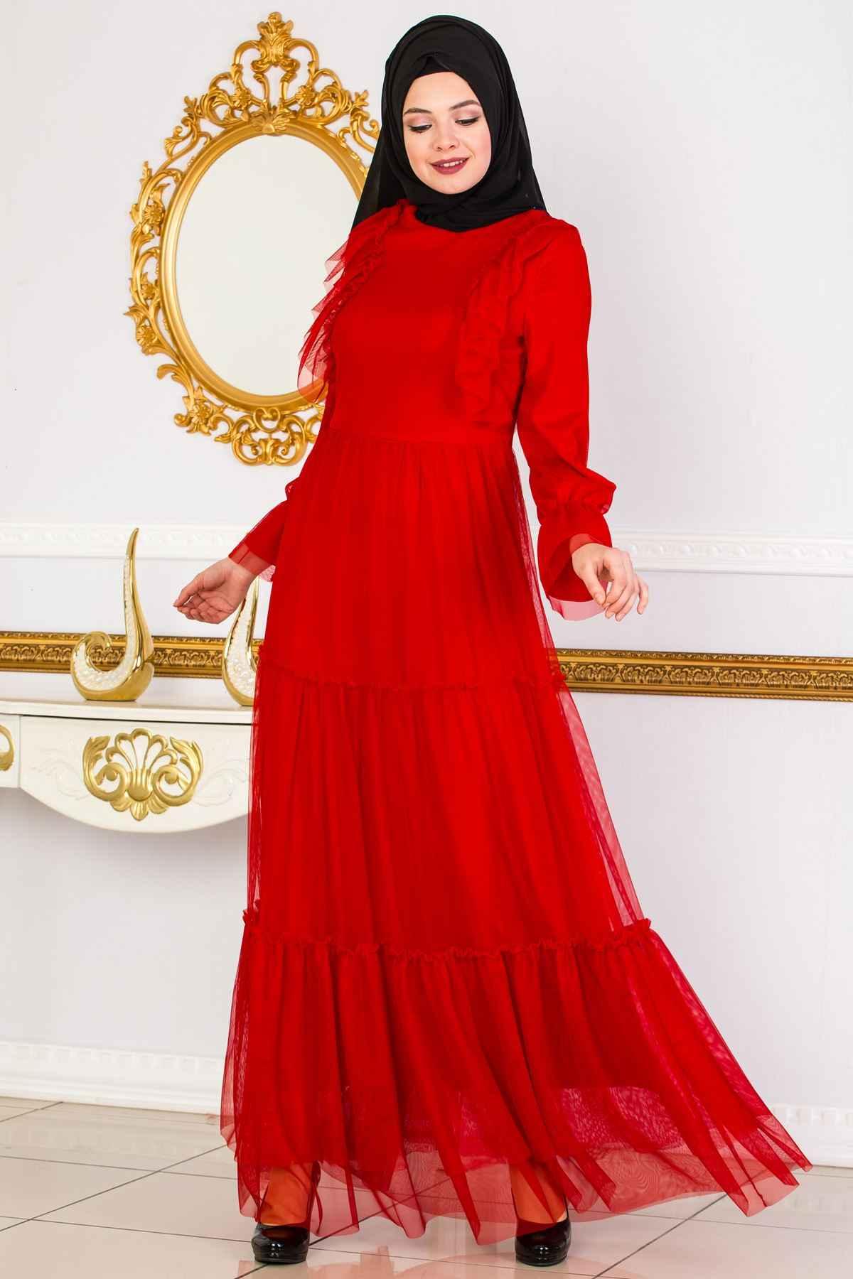Sedanur Tesettür Tül Elbise Modelleri
