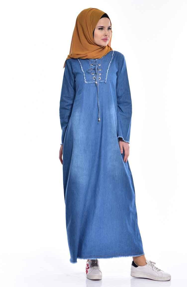 Sefamerve Bağcıklı Tesettür Kot Elbise Modelleri