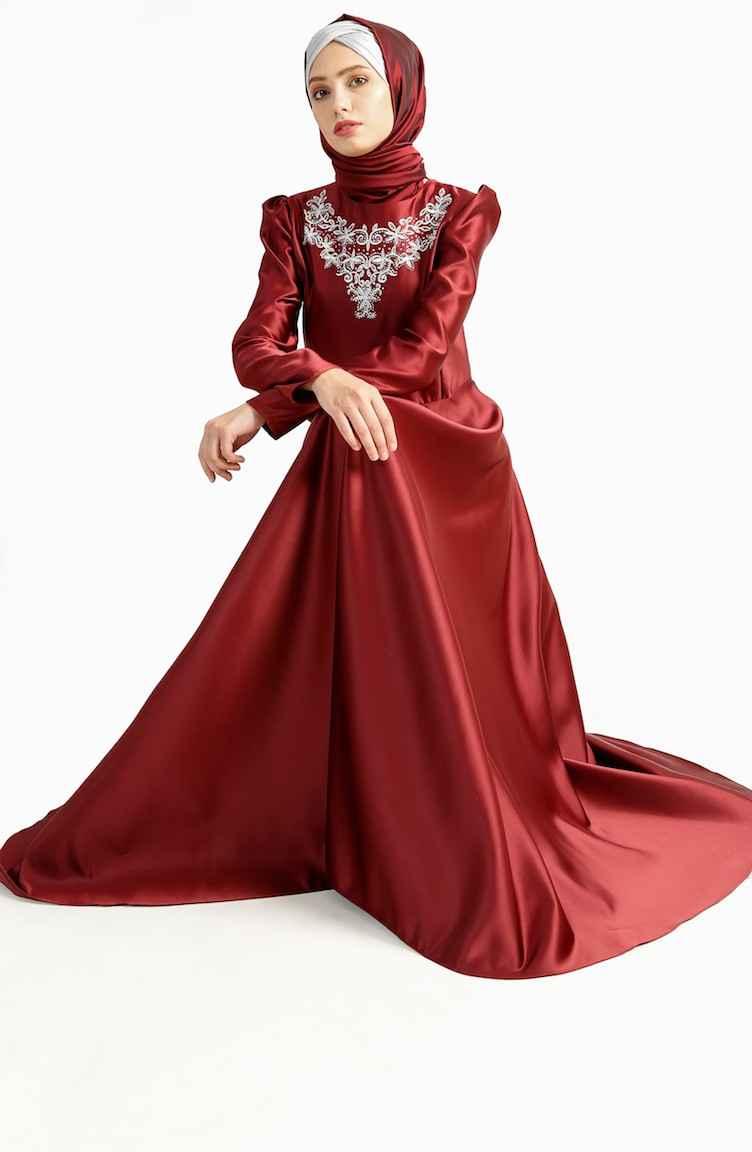 Sefamerve En Güzel Tesettür Kuyruklu Abiye Elbise Modelleri