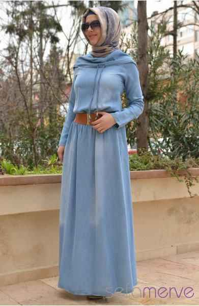 Sefamerve Kemerli Tesettür Kot Elbise Modelleri