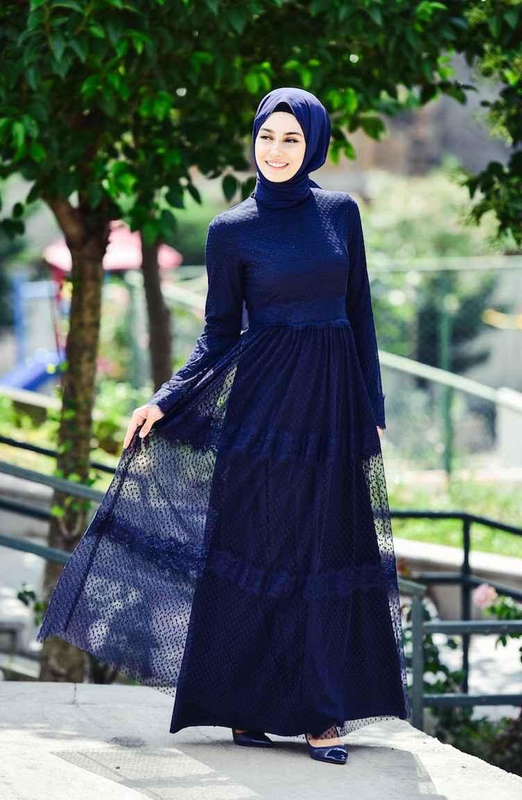 Sefamerve Tesettür Tül Elbise Modelleri
