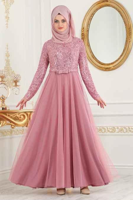 Tesettür İsland Şık Fiyonklu Abiye Elbise Modelleri