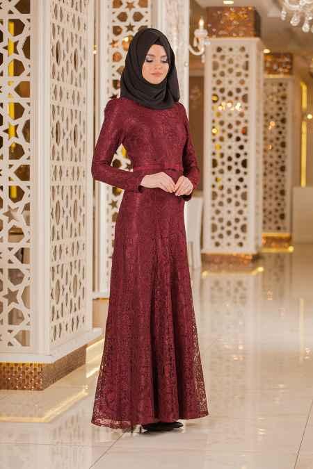 Tesettür İsland Fiyonklu Abiye Elbise Modelleri