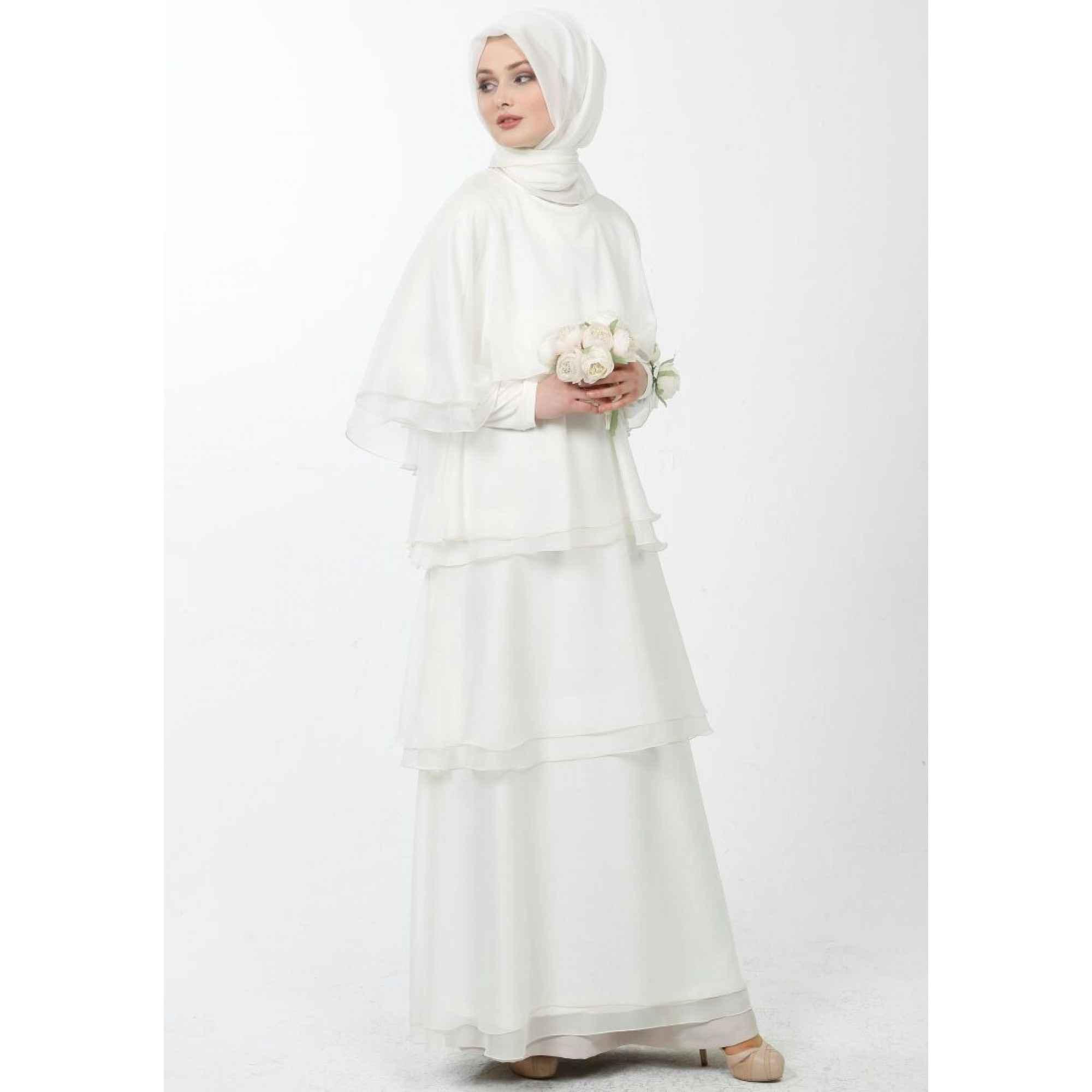 Tesettür Kat Kat Beyaz Elbise Modelleri