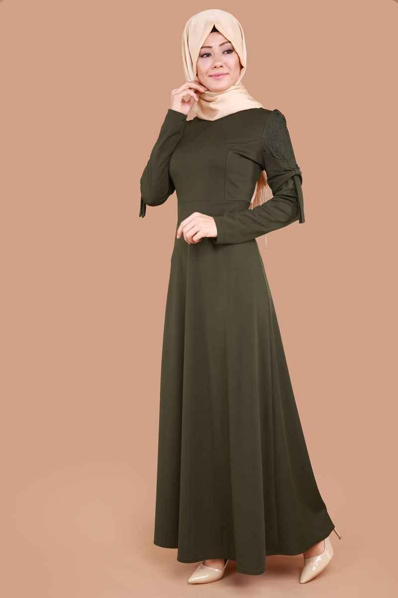 Tesettür Kolları Fiyonklu Elbise Modelleri