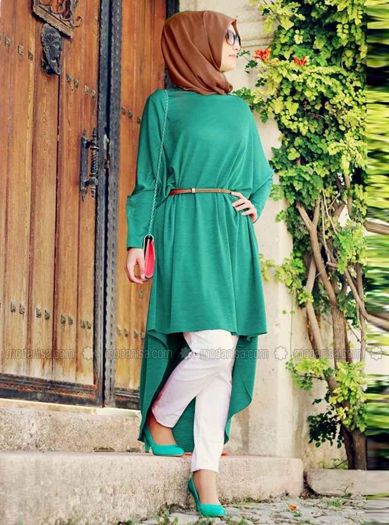 Tesettür Salaş Yeşil Tunik Modelleri