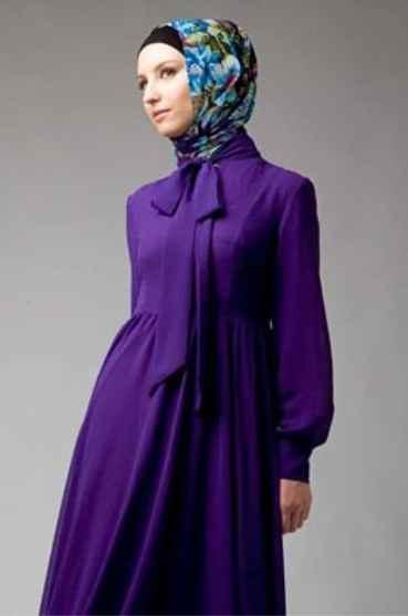 Tesettür Yakası Fiyonklu Elbise Modelleri