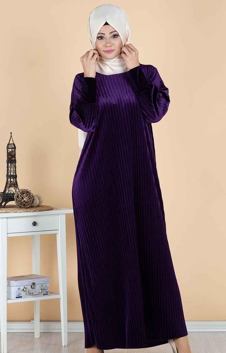 Tesettürpazarı Piliseli Kadife Elbise Modelleri