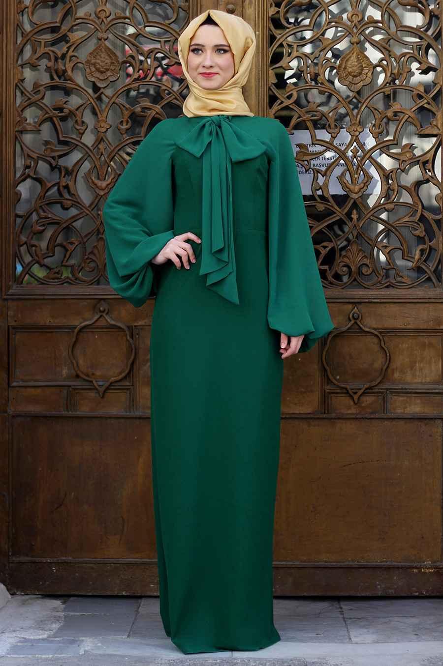 Zarif Tesettür Fiyonklu Elbise Modelleri