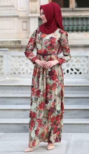 2019 Tesettür Çiçekli Elbise Modası
