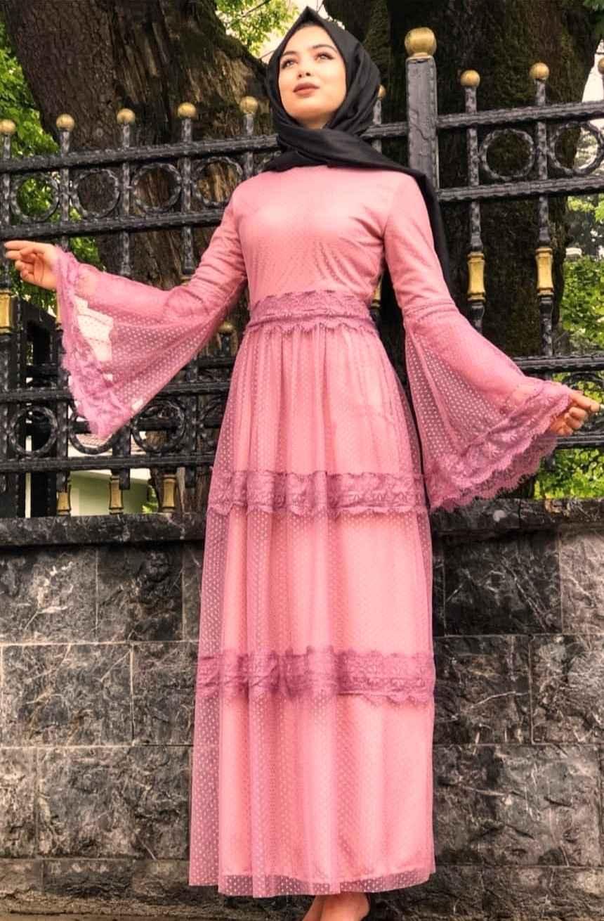 2019 Tesettür Dantelli Elbise Modası