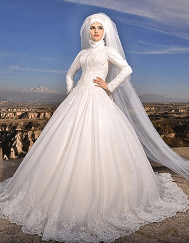 2019 Tesettür Dantelli Gelinlik Modelleri