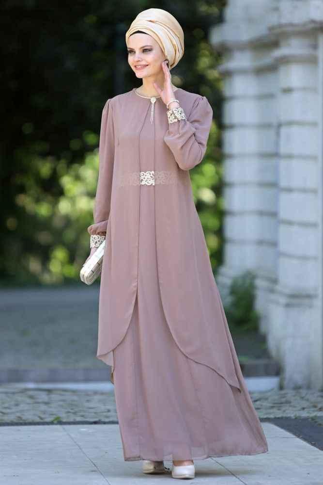 En Şık Nayla Collection Tesettür Tüllü Elbise Modelleri