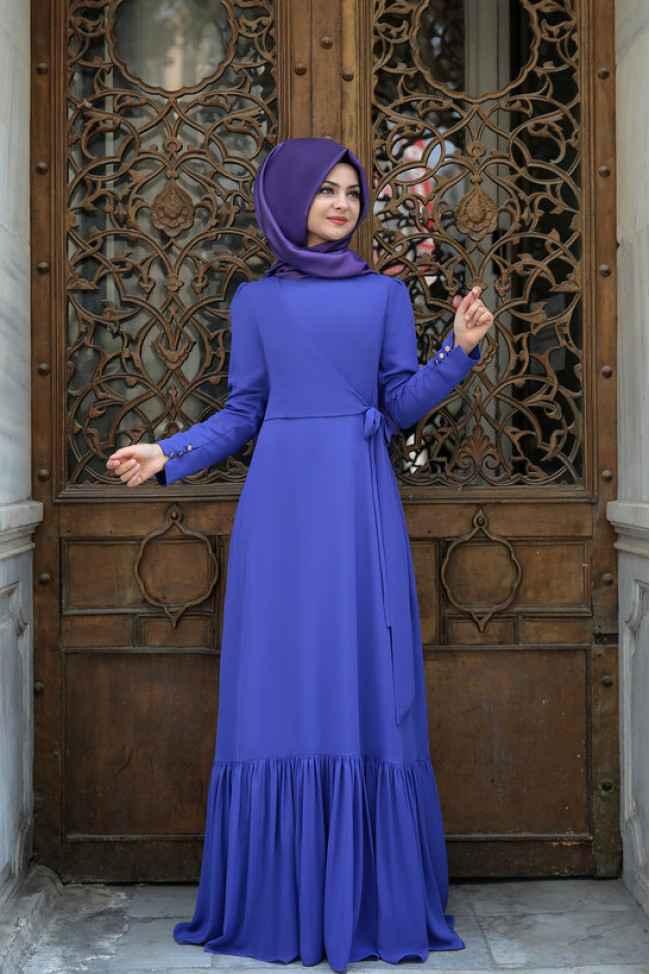 Eteği Fırfırlı Pınar Şems Tesettür Elbise Modelleri