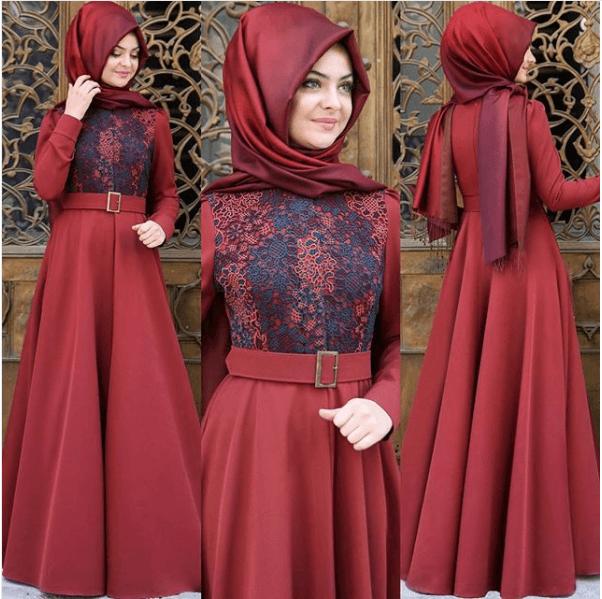 Nakışlı Pınar Şems Tesettür Elbise Modelleri