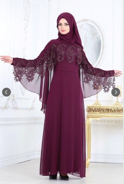 Nayla Collection Mürdüm Abiye Elbise Modelleri