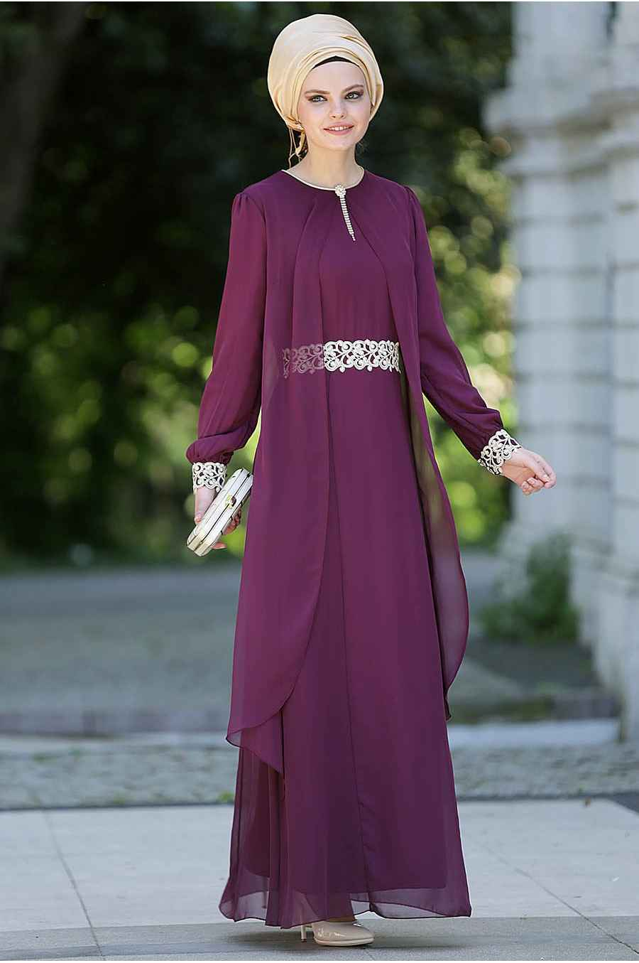 Nayla Collection Tesettür Tüllü Elbise Modelleri