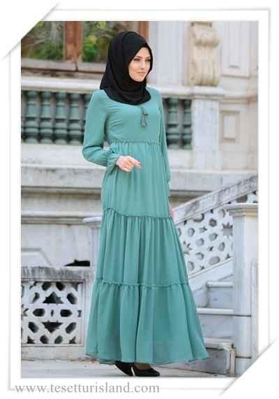 06c7f52a9c67c Neva Style Büzgülü Tesettür Günlük Elbise Modelleri - Moda Tesettür ...