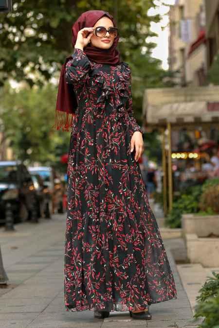 Neva Style Tesettür Çiçekli Elbise Kombinleri