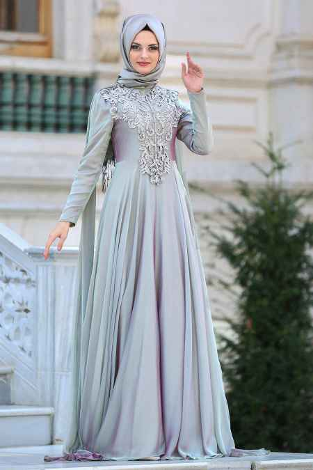 Neva Style Tesettür Şık Dantelli Abiye Elbise Modelleri
