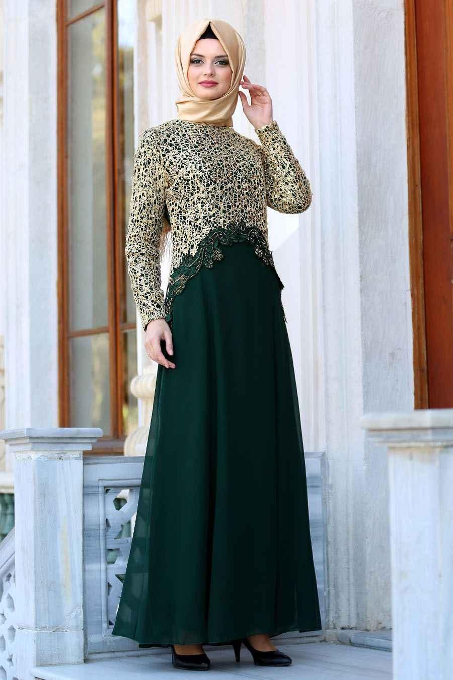 Neva Style Tesettür Dantelli Abiye Elbise Modelleri