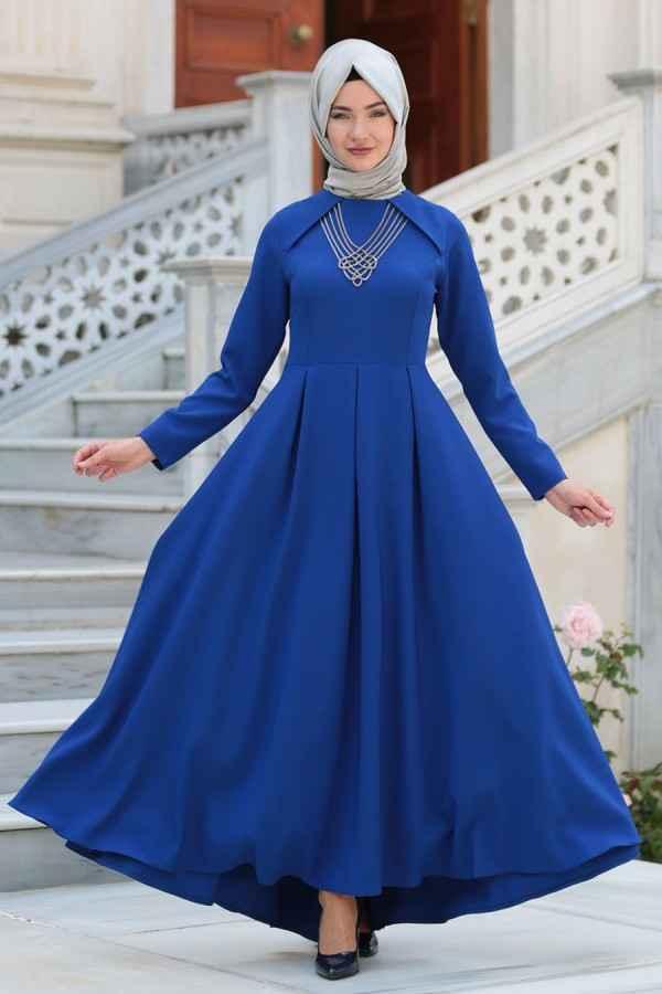 Neva Style Tesettür Mavi Elbise Modelleri
