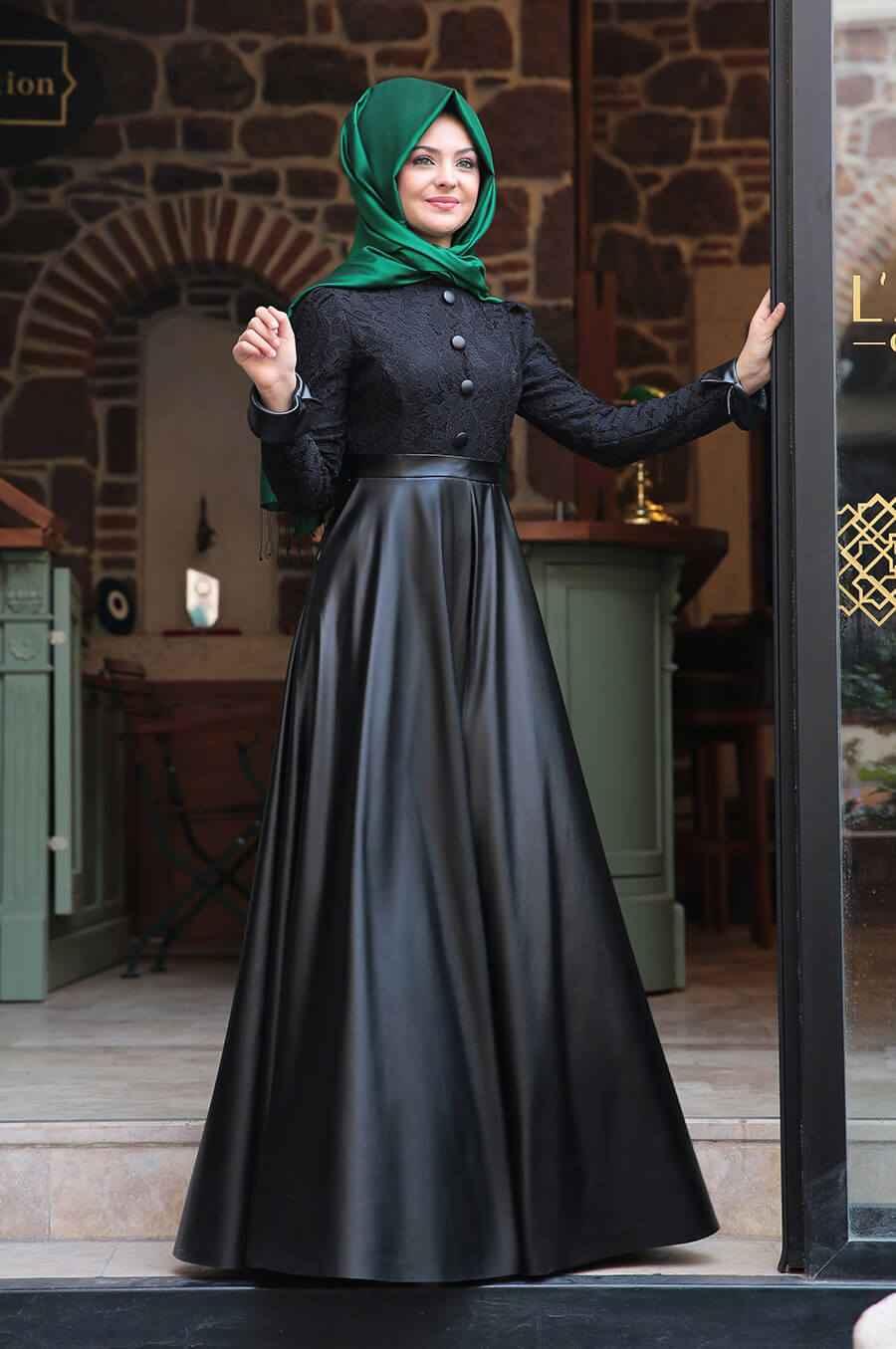 Pınar Şems Deri Detaylı Tesettür Elbise Modelleri