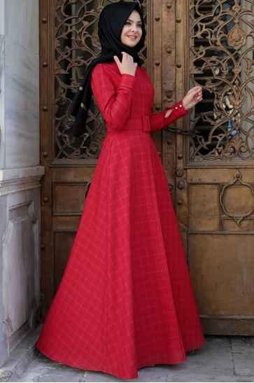 Pınar Şems Tesettür Ekose Elbise Modelleri