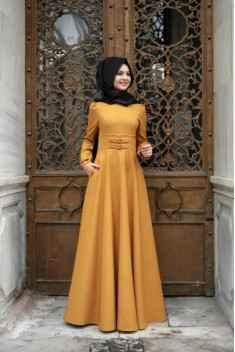 Pınar Şems Tesettür Korsajlı Elbise Modelleri