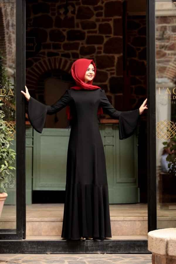 Pınar Şems Volan Kol Tesettür Elbise Modelleri