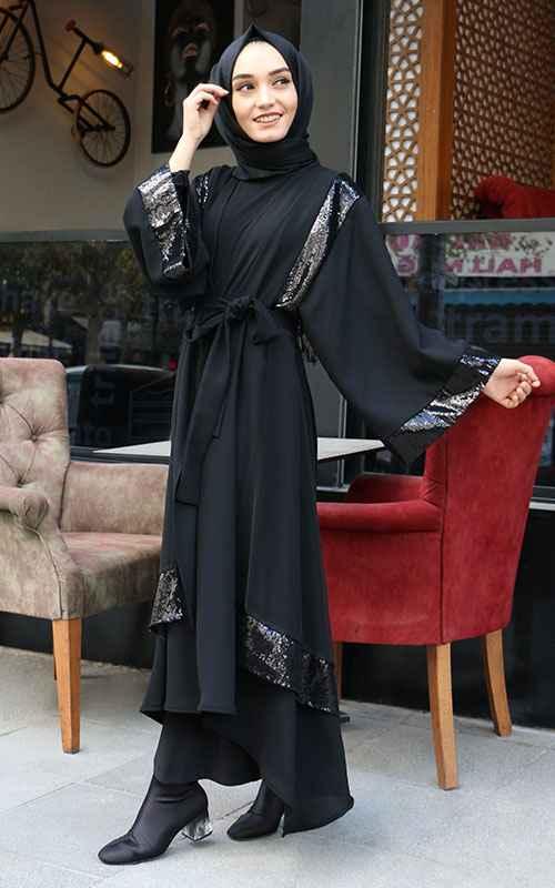 Sahranur Pullu Tesettür Abaya Modelleri