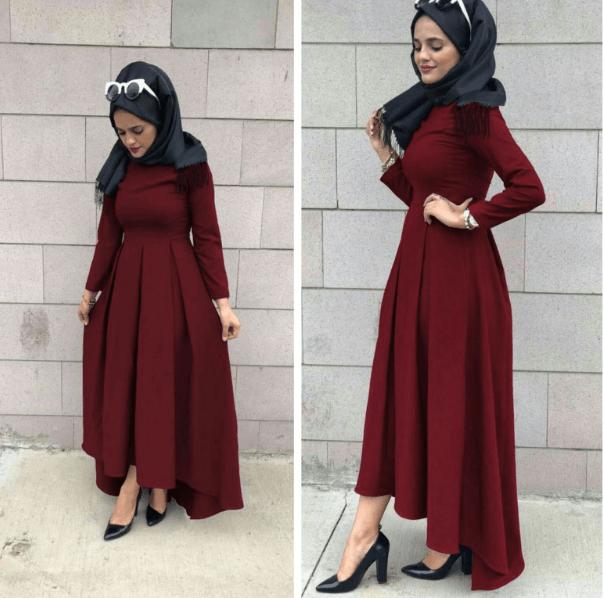 Sefamerve 2019 Tesettür Kuyruklu Elbise Modası