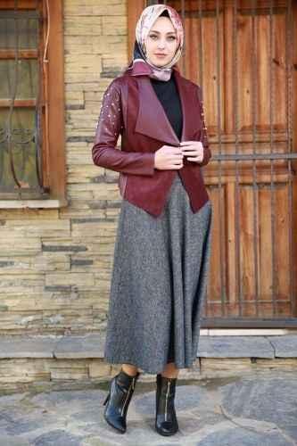 b5fbfe20bc15f Tesettür Bordo Deri Ceket Kombinleri - Moda Tesettür Giyim
