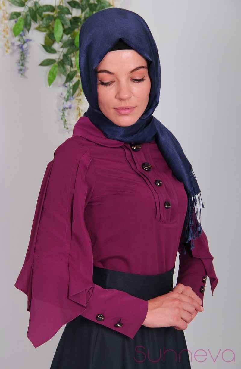 Vintage Tesettür Yarasa Kol Bluz Modelleri