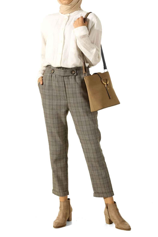 Allday Tesettür Ekose Pantolon Modelleri