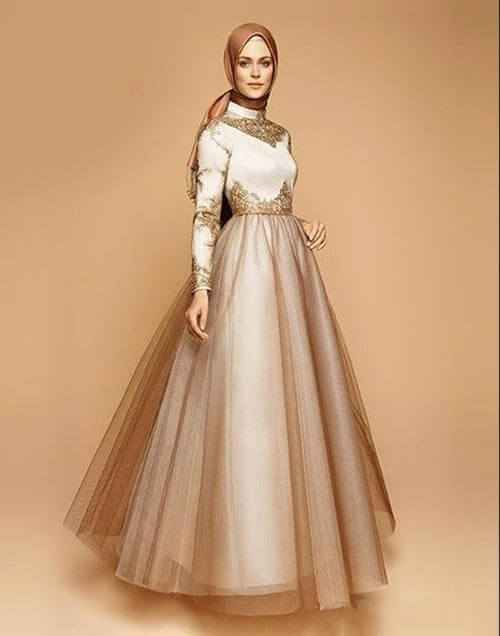 Armine Tesettür Gold Rengi Abiye Elbise