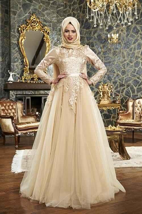 Asya Tesettür Gold Rengi Abiye Modelleri