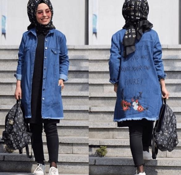 Baskılı Tesettür Kot Ceket Modelleri