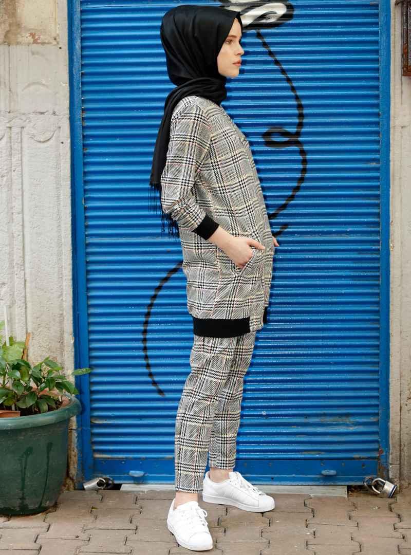 Benin Tesettür Ekose Pantolon Tunik Modelleri