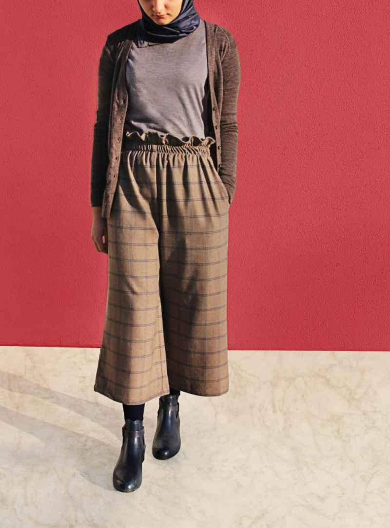 Bobbinboutique Tesettür Ekose Pantolon Modelleri