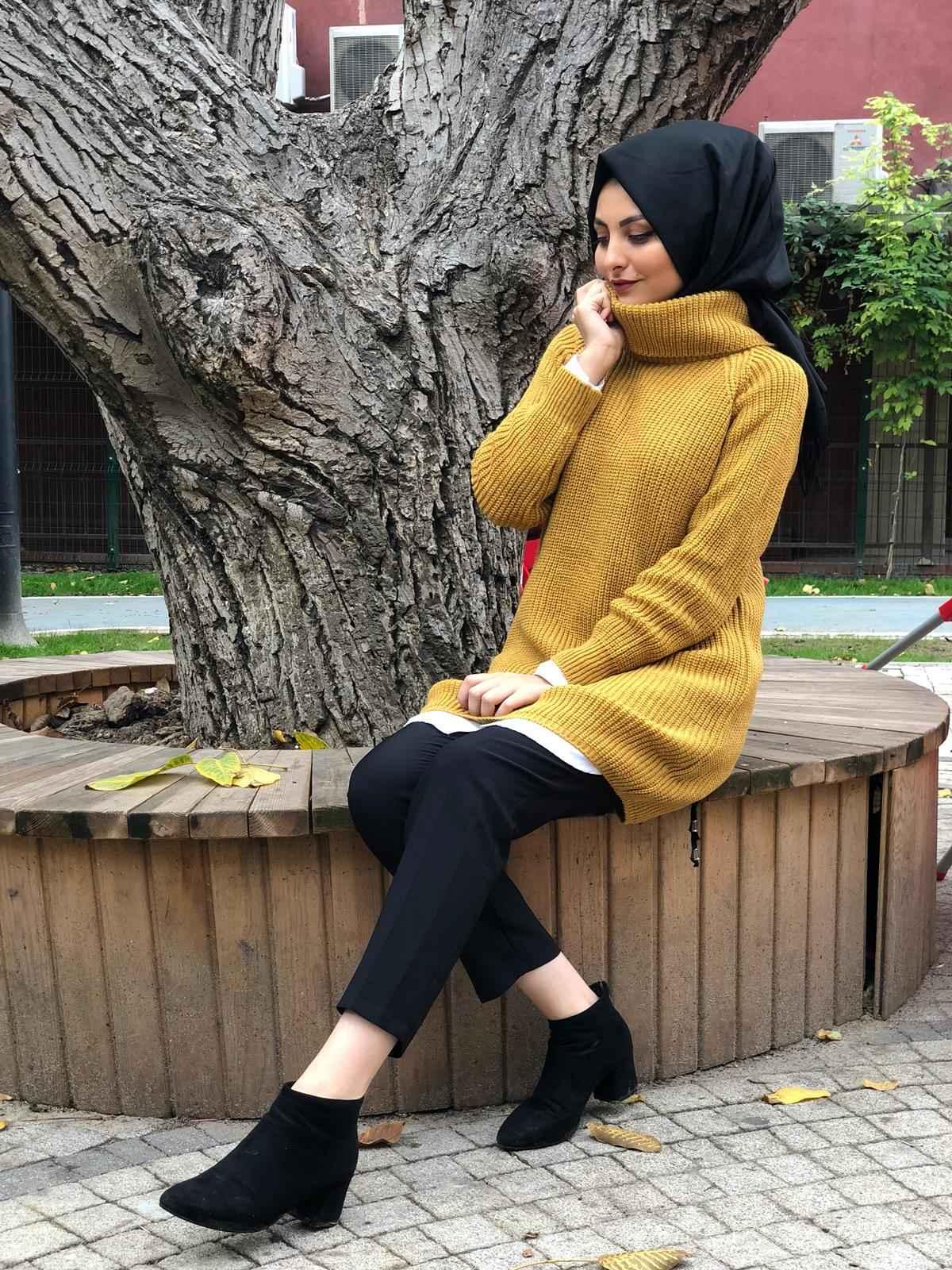 Elfida Tesettür Boğazlı Triko Kazak Modelleri