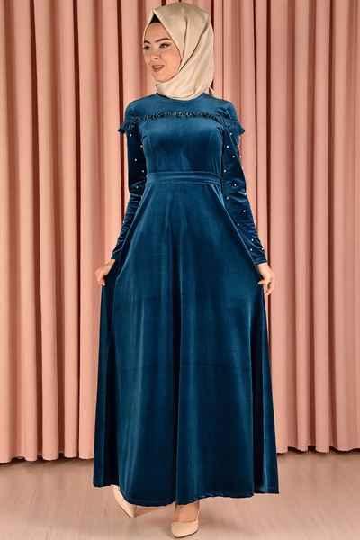 En Güzel Modamerve Tesettür Kadife Elbise Modelleri