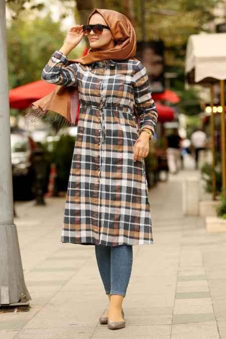 En Güzel Nayla Collection Tesettür Ekose Tunik Modelleri