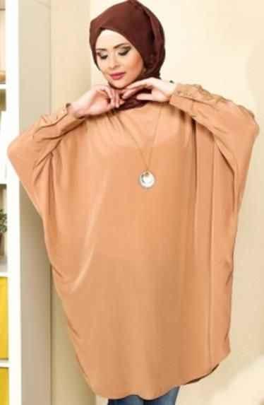 En Güzel Tesettür Yarasa Kol Tunik Modelleri