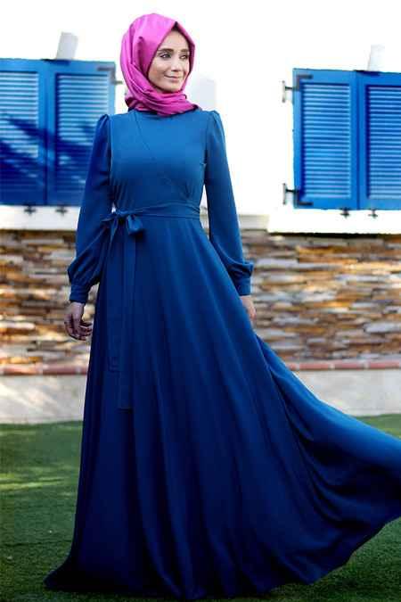 Minel Aşk Tesettür Anvelop Mavi Elbise Modelleri